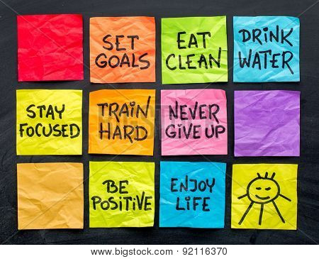 healthy lifestyle tips (eating, fitness, mindset, determination, positivity) - handwriting on a set of colorful sticky notes
