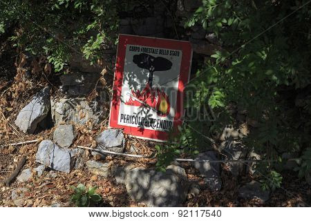 No Fires Sign In The Wood