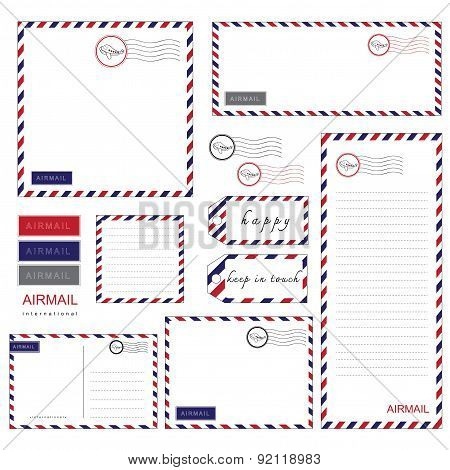 Airmail Stationery set paper, letter, envelope, notepad, tag poster
