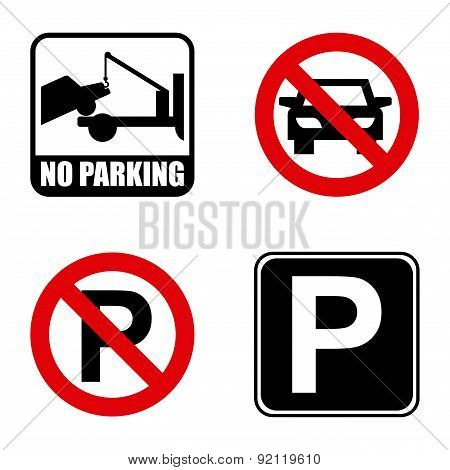 parking signal over white background vector illustration poster
