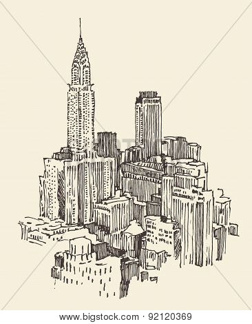 New York city architecture, engraved illustration
