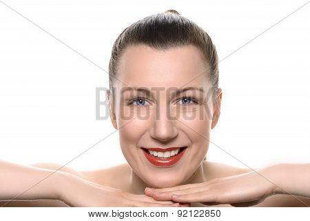 Pretty Healthy Woman Wearing Red Lipstick