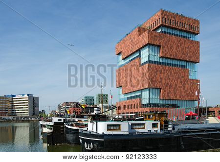 Antwerp, Belgium - May 10, 2015: Museum Aan De Stroom (mas) Along The River Scheldt.