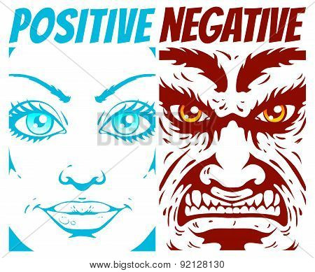 Vector illustration of a positive and negative poster