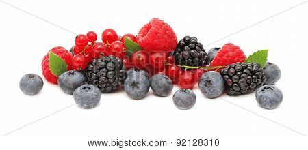 Stack Of Different Berries With Green Leaves (isolated)