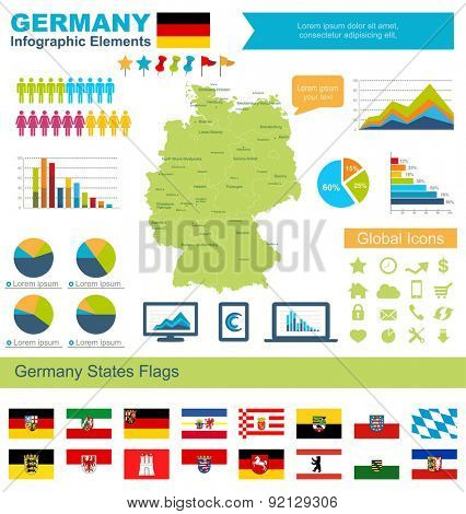 Germany Infographic Elements  Include:High detailed map of Germany and complete provincial flags