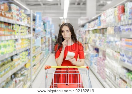 Curious Woman in The Supermarket with Shopping List