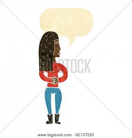 cartoon woman ignoring with speech bubble