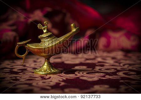 Small Antique Aladdin Lamp Macro