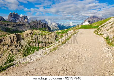 Trail around the Tre Cime, Dolomites in Italy