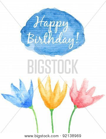 Floral Happy Birthday card.