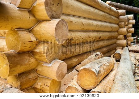 Wall Under Construction Of Country Wooden House