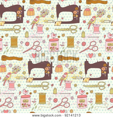 Lovely needlework seamless pattern in vector. Sweet sewing machine, scissors, sewing and other handicrafts items. Vintage background in cartoon style in awesome colors
