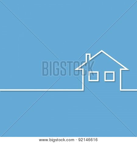 Home Icon on blue background. Illustration