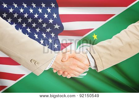 Businessmen shaking hands - United States and Macau poster