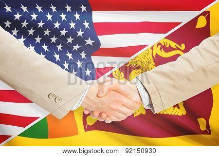 Businessmen shaking hands - United States and Sri Lanka poster
