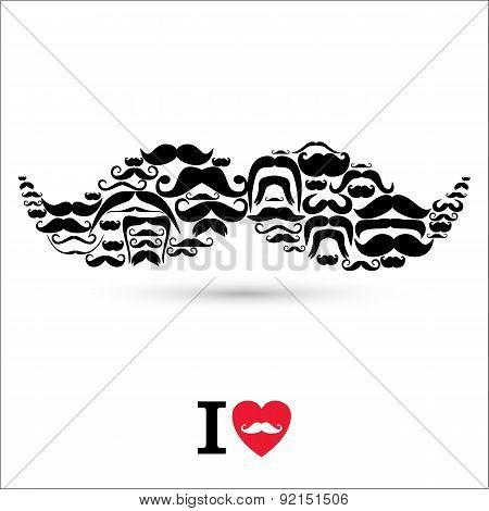 Stock Vector Illustration:moustaches Set. Design Elements.