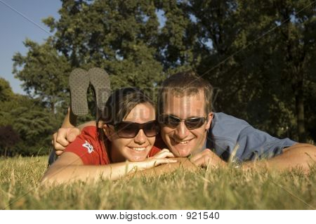 Happy Couple In The Park