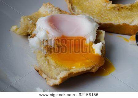 Fried Egg On Bagel - Partly Eaten