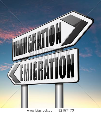 poster of immigration or emigration political or economic migration by refugees or moving across the border by economic migrants