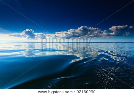 Beautiful Seascape Evening Sea Horizon And Sky.