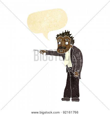 cartoon man trembling with key unlocking with speech bubble