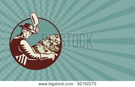 Business Card Fishmonger Butcher Knife And Fish