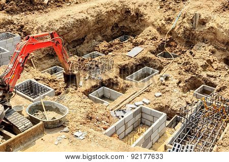Foundation construction work for building showing excavation of excavator poster