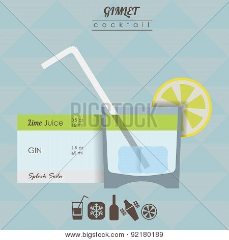 Gimlet cocktail flat style  illustration with icons of recipe wi