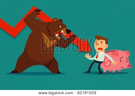 Businessman Protect His Piggy Bank From Bear Market