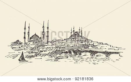 Istanbul, Turkey, Harbor, Vintage Engraved Sketch