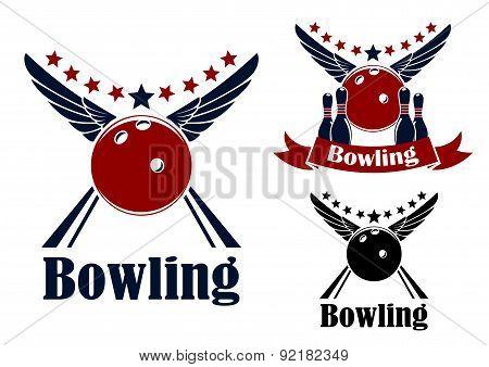 Winged bowling ball and ninepins