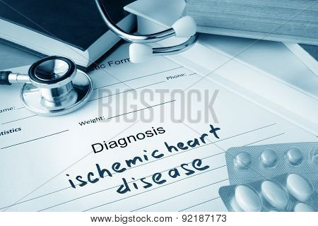 Diagnostic form with diagnosis ischemic heart disease