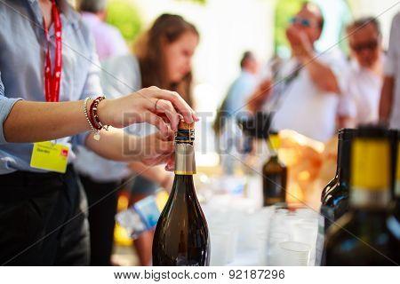 Waiter Uncorked Bottle Of Wine