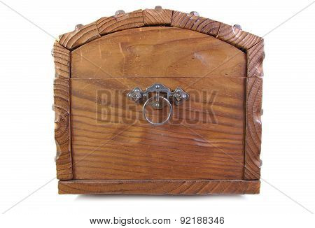 Side view of an antique wood footlocker on a white background
