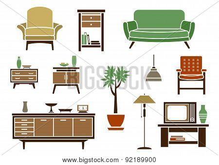Flat interior and furniture icons