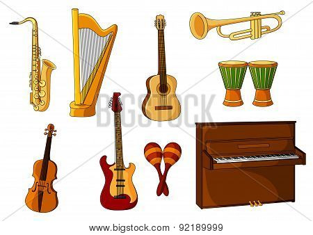 Large set of various musical instruments