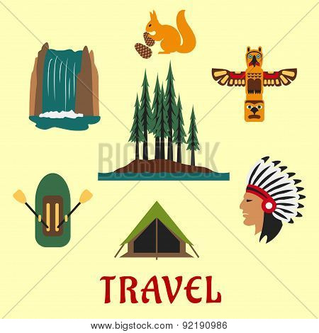 Travel Canadian and American icons