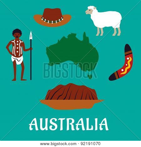Australian conceptual travel icons and landmarks