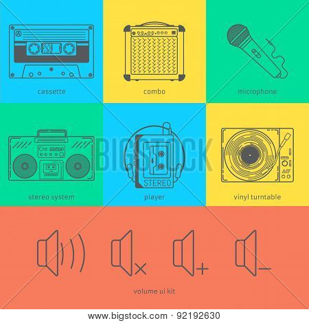 Flat line icons set of audio technic 90's like magnete cassette, combo, microphone, stereo system, p