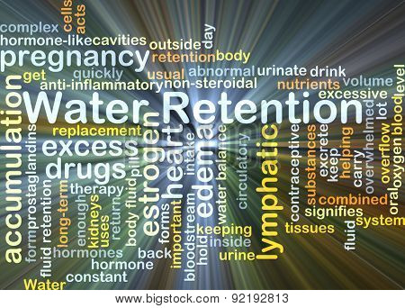 Background concept wordcloud illustration of water retention glowing light