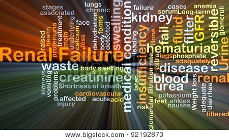 Background concept wordcloud illustration of renal failure glowing light poster