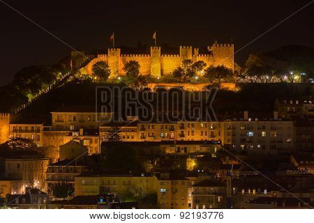 Lisbon Night View Of The Castel Of St George