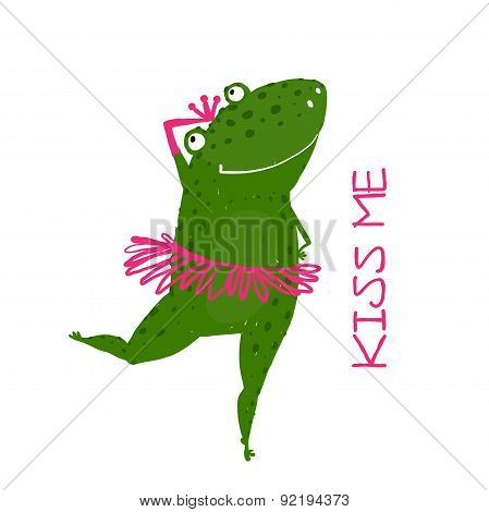 Funny Cute Frog with Crown Dancing