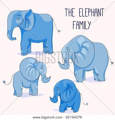 Illustration of Cute cartoon elephant family.