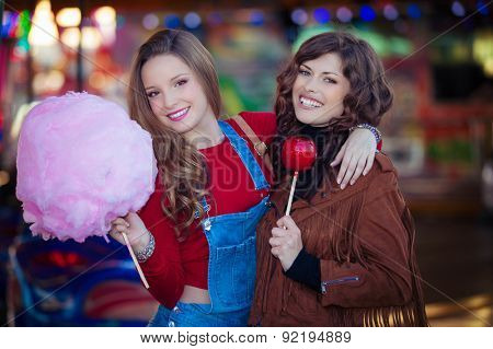 teens at fair with candy