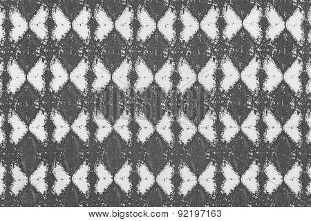 White Gray Fabric With A Rhombic Pattern