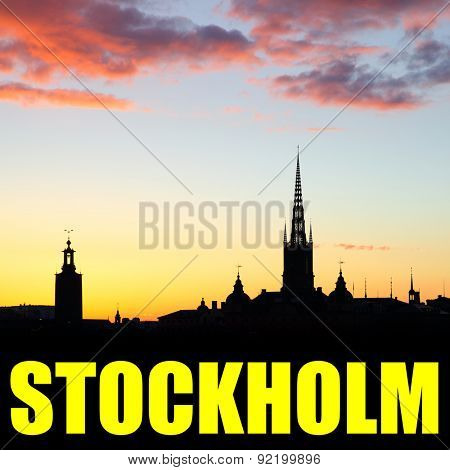 Silhouette of Old Town of Stockholm with copyspace
