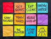 healthy lifestyle tips (eating, fitness, mindset, determination, positivity) - handwriting on a set of colorful sticky notes poster