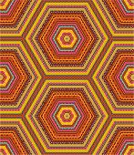 Seamless (easy to repeat) kashmir, paisley or country geometric hexagonal pattern (background, wallpaper, print, swatch) of autumn colors poster